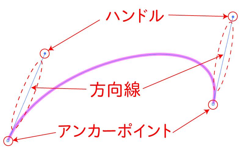 イラストレーターのベジェ曲線のハンドルと方向線、アンカーポイント